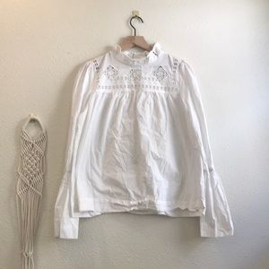 ⋯ Anthropologie Cotton Bell Sleeve Blouse